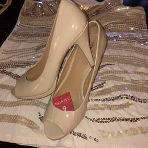 Merona open toe nude pumps